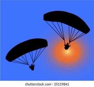 paragliding collection - vector