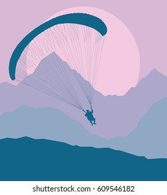 Paragliding jump landscape with mountains vector background