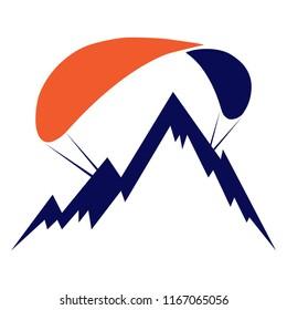 Paragliding logo. Mount and parachute. Flat design, vector.