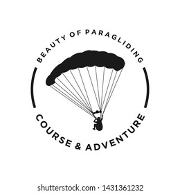 Paragliding logo with a simple silhouette