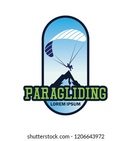 paragliding logo with text space for your slogan / tag line, vector