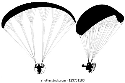 Paragliding with Para-motor Silhouette on white background