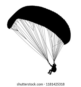 Paragliding, Silhouette on the White Background