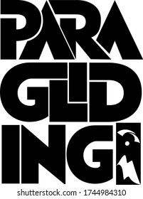 Paragliding text with mountain and flying paraglider silhouettes. Hand lettering illustration made in capital letters.