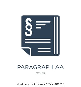 paragraph aa icon vector on white background, paragraph aa trendy filled icons from Other collection, paragraph aa vector illustration