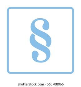 Paragraph symbol icon. Blue frame design. Vector illustration.
