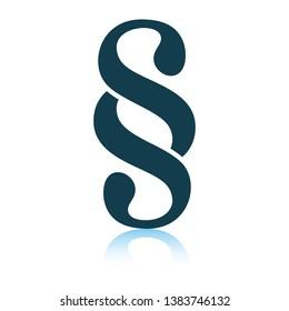 Paragraph symbol icon. Shadow reflection design. Vector illustration.