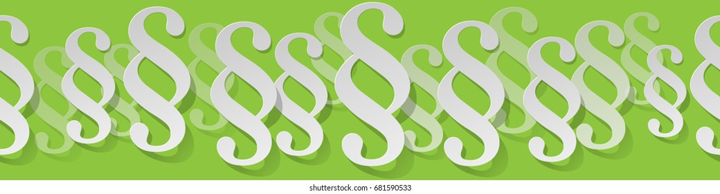 Paragraph white symbol paper banner on a green background.