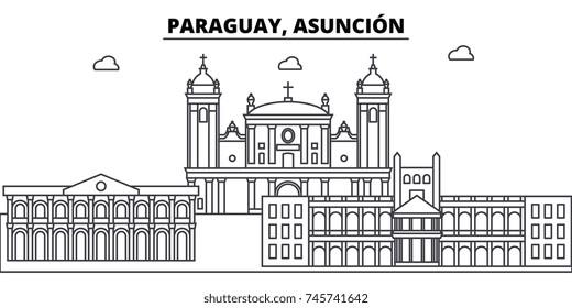 Paraguay, Asuncion architecture skyline buildings, silhouette, outline landscape, landmarks. Editable strokes. Urban skyline illustration. Flat design vector, line concept