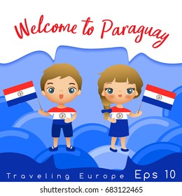 Paraguay : Boy and girl with national flag : Vector Illustration