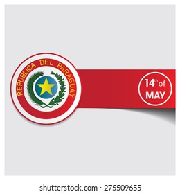 Paraguay emblem banner design. 14th may Paraguay independence day abstract background template. vector illustration