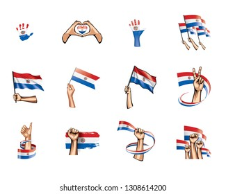 Paraguay flag and hand on white background. Vector illustration