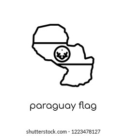 Paraguay flag icon. Trendy modern flat linear vector Paraguay flag icon on white background from thin line Country Flags collection, editable outline stroke vector illustration