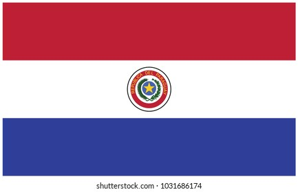 Paraguay flag, official colors and proportion correctly