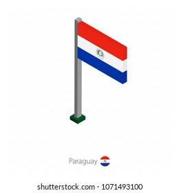 Paraguay Flag on Flagpole in Isometric dimension. Vector illustration.