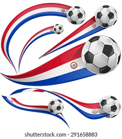 paraguay flag  with soccer ball isolated on white background