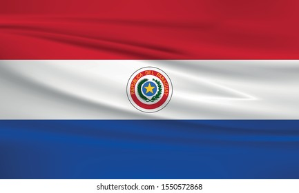 Paraguay flag waving with wind effect