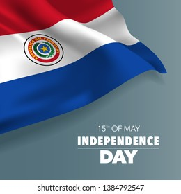 Paraguay happy independence day greeting card, banner vector illustration. Paraguayan holiday 15th of May design element with flag with curves