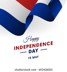 Paraguay Independence Day. 15 May. Waving flag. Vector illustration.