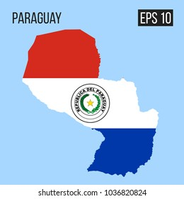 Paraguay map border with flag vector EPS10