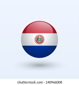 Paraguay round flag. Vector illustration.