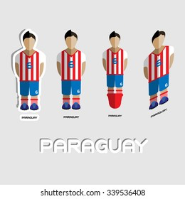 b381f529b5d Paraguay Soccer Team Sportswear Template. Front View of Outdoor Activity  Sportswear for Men and Boys