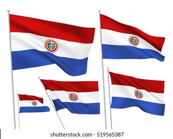 Paraguay vector flags set. 5 wavy 3D cloth pennants fluttering on the wind. EPS 8 created using gradient meshes isolated on white background. Five flagstaff design elements from world collection