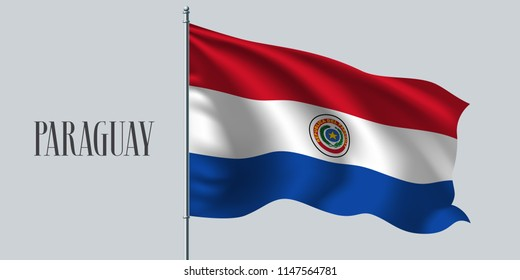 Paraguay waving flag on flagpole vector illustration. Red blue design element of Paraguayan wavy realistic flag as a symbol of country