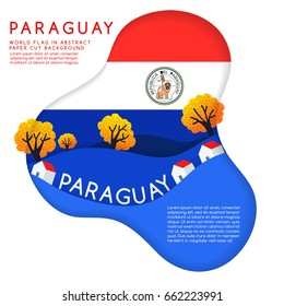 Paraguay : World Flag in paper cut shapes with trees and mountains in the layers : Vector Illustration