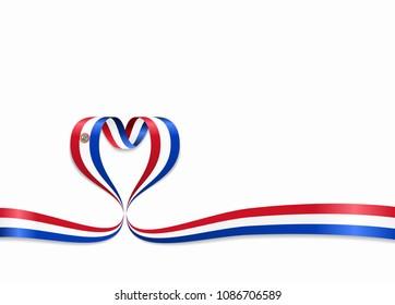 Paraguayan flag heart-shaped wavy ribbon. Vector illustration.