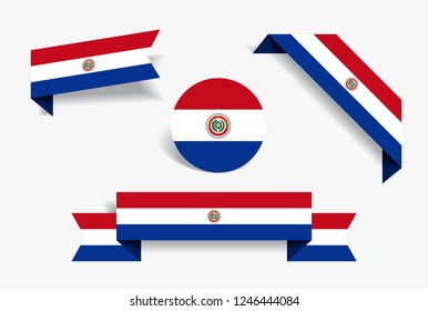 Paraguayan flag stickers and labels set. Vector illustration.
