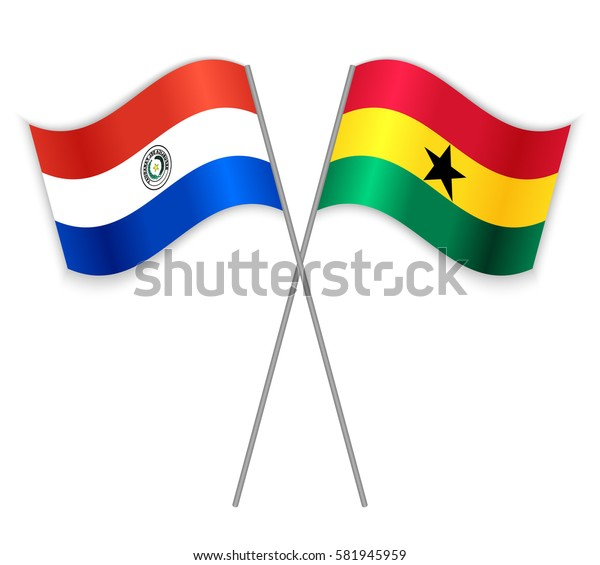 Paraguayan and Ghanaian crossed flags. Paraguay combined with Ghana isolated on white. Language learning, international business or travel concept.