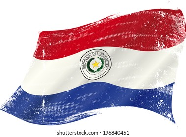Paraguayan grunge flag. A grunge flag of Paraguay in the wind flag for you