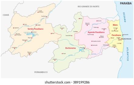 paraiba administrative map