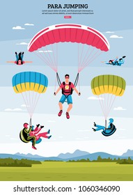 Parajumping poster with parachuting and para gliding symbols flat vector illustration