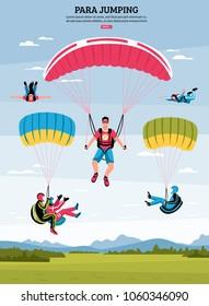 Parajumping poster with parachuting and para gliding symbols flat vector illustration