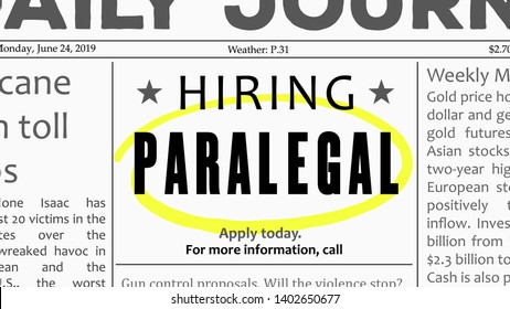 Paralegal job offer. Newspaper classified ad career opportunity.