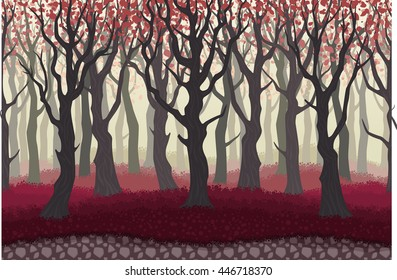 Parallax cartoon misterious forest landscape, nature vector illustration. Seamless background with trees for 2d games.
