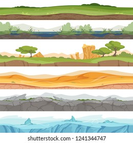 Parallax seamless ground. Game landscape ice grass water desert dirt rock vector cartoon background