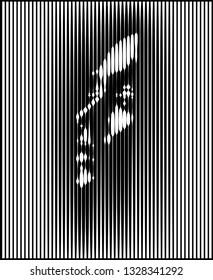 Parallel Line Art Face. Woman portrait in contrast light. Vector. Design Illustration.
