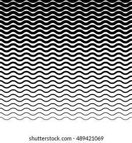 Parallel wavy-zigzag horizontal lines - Horizontally repeatable geometric pattern