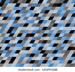 Parallelogram pattern. Seamless vector background with black, gray, blue quadrangles