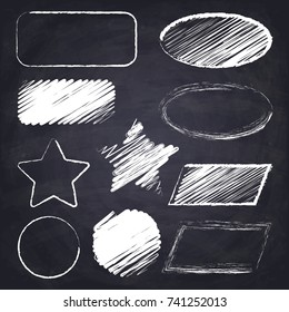 Parallelogram, star, ellipse, round, rectangle. Geometric figures on chalkboard background.Chalk drawn illustration.