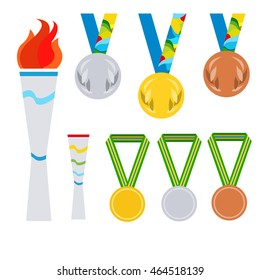 Paralympics games. Olimpic fire. Symbol of Olympic games. Flambeau flat style logo.Collection of olimpic medals. Colors of Brazil flag.Brazil Summer 2016 Games Rio de Janeiro.