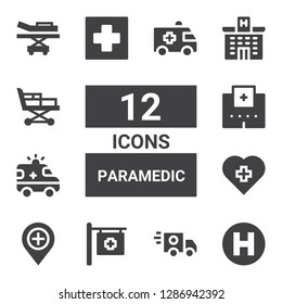 paramedic icon set. Collection of 12 filled paramedic icons included Hospital, Ambulance, Stretcher