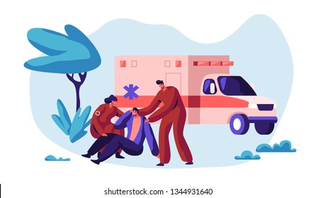 Paramedic Profession Medical Character Rescue Health on Ambulance. Medic Worker Urgent Transportation on Medicine Vehicle to Hospital for Healthcare. Flat Cartoon Vector Illustration