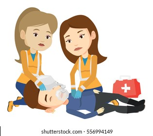 Paramedics doing cardiopulmonary resuscitation of a woman. Team of emergency doctors during process of resuscitation of an injured woman. Vector flat design illustration isolated on white background.