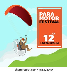 paramotor fly on the sky .mountain on the ground .paramotor festival
