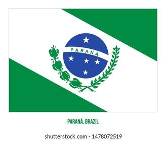 Parana Flag Vector Illustration on White Background. States Flag of Brazil.