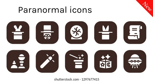 paranormal icon set. 10 filled paranormal icons. Simple modern icons about  - Magician, Crystal ball, Magic, Spell, Magic trick, Ufo